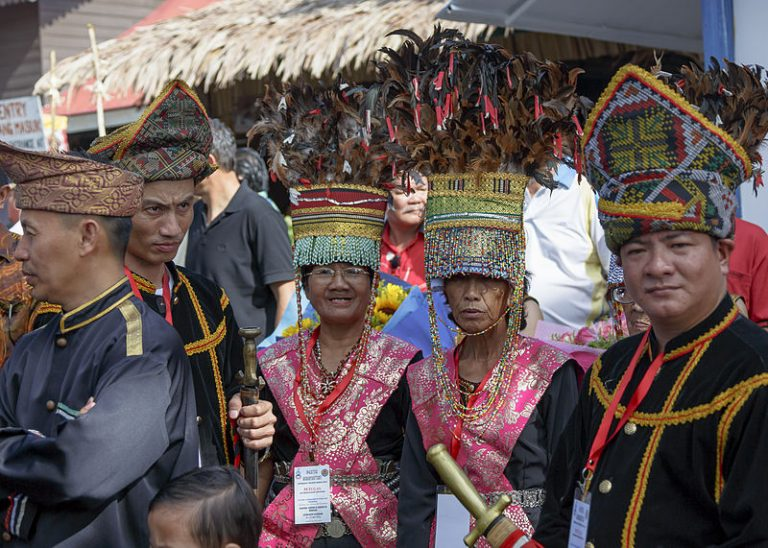 Two bobohizan, traditional Dusun priestesses during the opening ceremony of Kaamatan 2014 Photo by CEphoto, Uwe Aranas